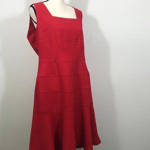 Anne Klein Size 14 Fit & Flare Knee Length Red Dre